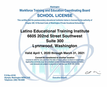 facsimile of LETI LVS license from WA State.